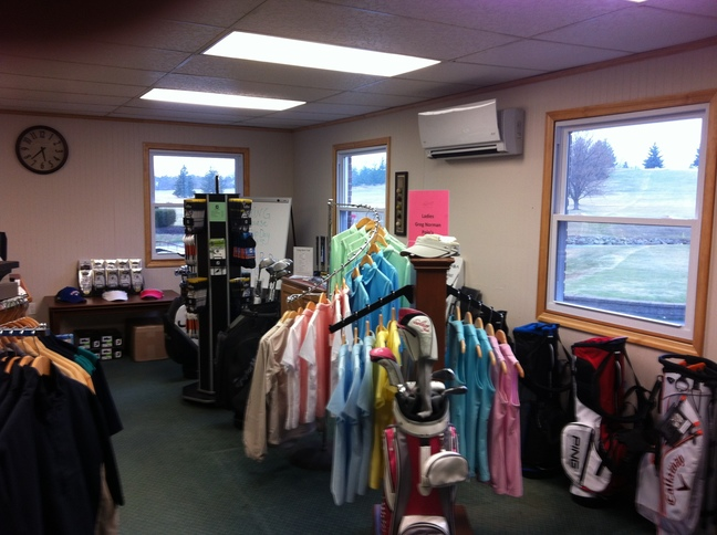Women's golf merchandise in the pro shop at Lost Creek